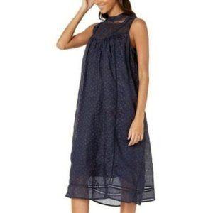 NEW Frye Navy Ditsy Floral Lace Yoke Shift Dress S